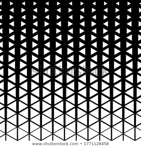 Vector Seamless Black And White Triangle Halftone Grid Geometric Pattern stock photo © CreatorsClub