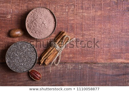 Cocoa powder with chia seeds background close-up Stock photo © Karpenkovdenis