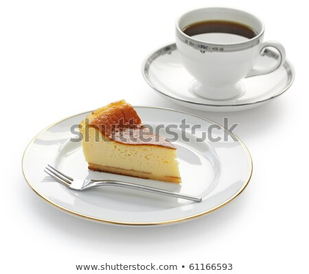 whole cream cake on the plate and fork Stock photo © mizar_21984