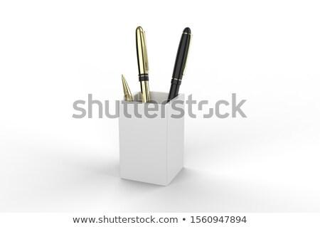 Kitűnik a tömegből ceruzák piros ceruza citromsárga kép Stock fotó © Oakozhan