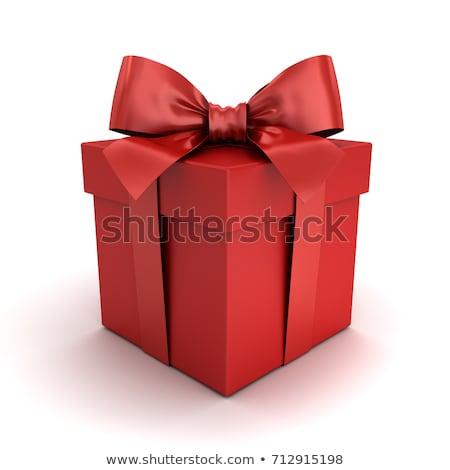 3d illusztráció piros ajándék íj fehér papír Stock fotó © tussik
