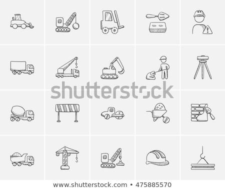 Rozbiórki Żuraw szkic ikona wektora odizolowany Zdjęcia stock © RAStudio