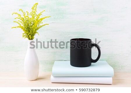ブラックコーヒー マグ 緑の草 図書 ストックフォト © TasiPas