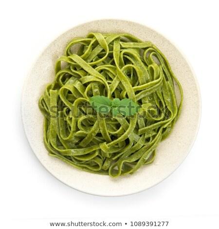 緑 ほうれん草 パスタ プレート スパゲティ 孤立した ストックフォト © popaukropa