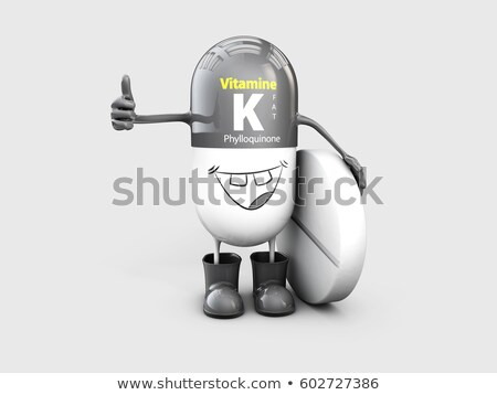Vitamin K shining pill cartoon capsule. 3d illustration Stock photo © tussik
