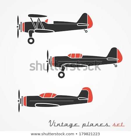 karikatür · Retro · uçak · vektör · düzlem · eps10 - stok fotoğraf © mechanik