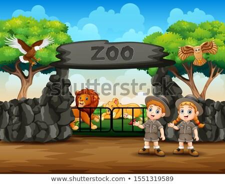 Jelenet állatkert állatok illusztráció természet tájkép Stock fotó © bluering