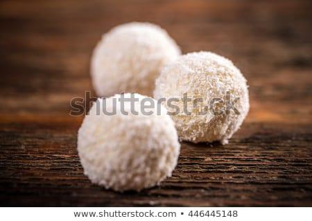 Csokoládé kókusz hógolyó sütik tekert étel Stock fotó © Digifoodstock