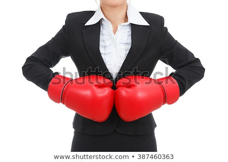 angry woman suit boxing gloves isolated white stock photo © qingwa