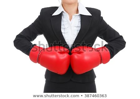 Foto stock: Zangado · mulher · terno · luvas · de · boxe · isolado · branco