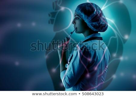 kolaj · bilimsel · genç · kadın · doktor · ayakta - stok fotoğraf © master1305