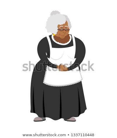 Old African-American governess isolated. pedagogue grandmother.  Stock photo © popaukropa