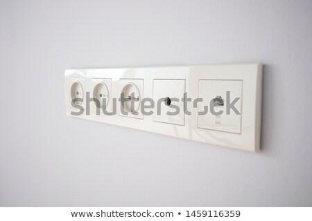 Stockfoto: Tv · witte · opknoping · muur · moderne · monitor