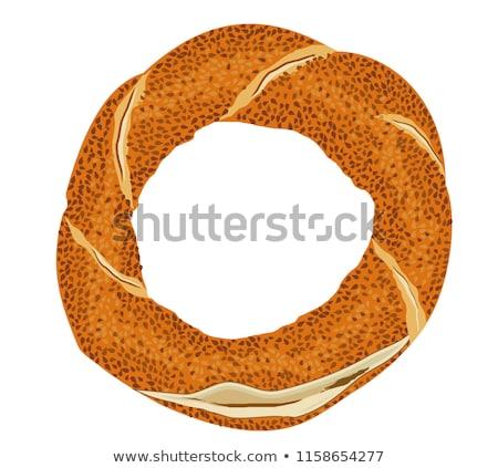 Szezámmag friss fából készült vágódeszka kenyér fehér háttér Stock fotó © Digifoodstock