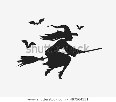 Silhouette Halloween Witch Flying On Broomstick Stock photo © Krisdog