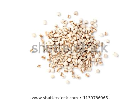 Magvak gyöngy árpa tányér fehér fából készült Stock fotó © Digifoodstock