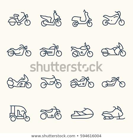Cruzador motocicleta linha ícone vetor isolado Foto stock © RAStudio