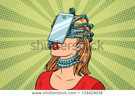 face id smartphone parasite, woman and Internet addiction Stock photo © studiostoks