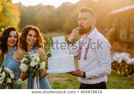 Wedding guests eating cake Stock photo © IS2