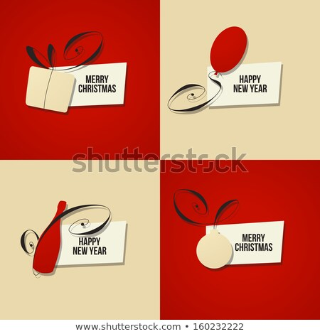 Christmas Red Sticker Design With Text Space Photo stock © ussr
