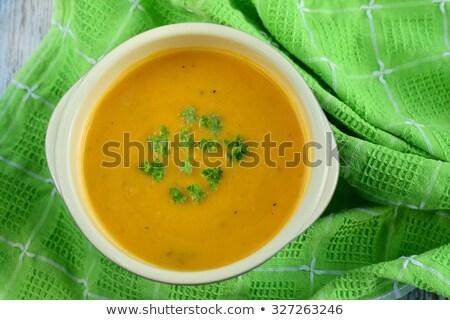 Eigengemaakt wortel aardappelsoep paar kommen vegetarisch Stockfoto © mpessaris