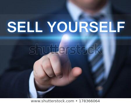 Elad magad gomb közelkép karcsú alumínium Stock fotó © tashatuvango