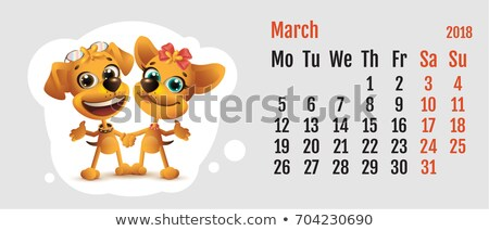 Foto stock: 2018 Year Of Yellow Dog On Chinese Calendar Dog Couple Love Calendar Grid Month March