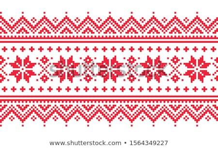 Winter cross-stitch vector pattern inspired by Sami people folk art in Lapland - Scandinavian, Nordi Stock photo © RedKoala