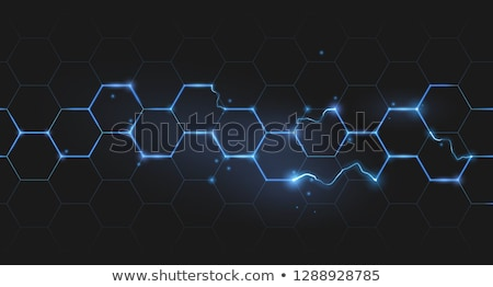 Elektrische zeshoek honingraat bliksem Blauw abstract Stockfoto © Krisdog