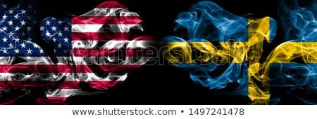 Voetbal vlammen vlag Zweden zwarte 3d illustration Stockfoto © MikhailMishchenko