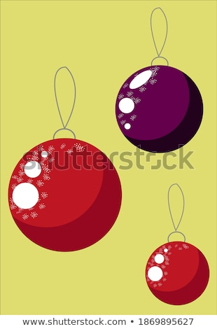 vector merry christmas illustration with gold glass ball and typography elements on red background stock photo © articular