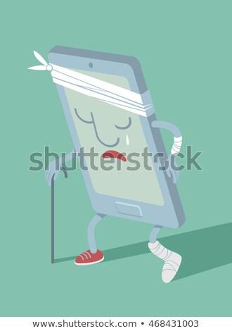 realista · telefone · móvel · tela · telefone · tecnologia · preto - foto stock © maryvalery