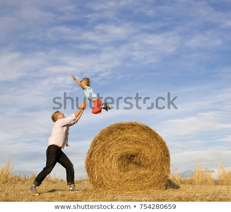 man catching boy jumping from hay bale Stock photo © IS2