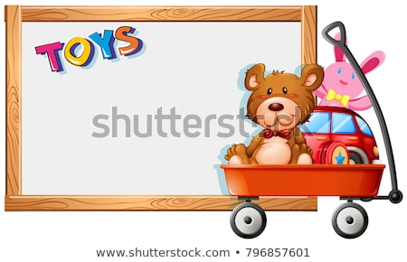 Frame template with toys on red wagon Stock photo © bluering