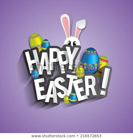 Христос воскрес яйца кролик Purple Пасху весны Сток-фото © tilo