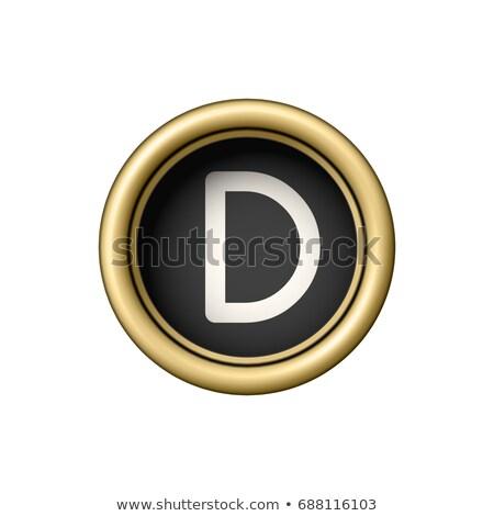 Letra d vintage dourado máquina de escrever botão isolado Foto stock © pakete
