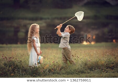 Junge spielen Schmetterling net Garten Natur Stock foto © IS2