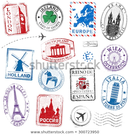 Stockfoto: International Travel Stamps On White