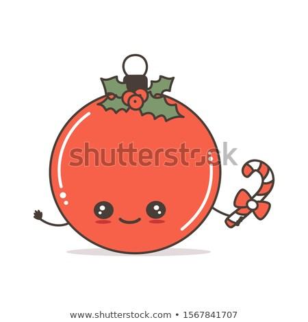 Fericit roşu Crăciun bilă mascota de desene animate Imagine de stoc © hittoon