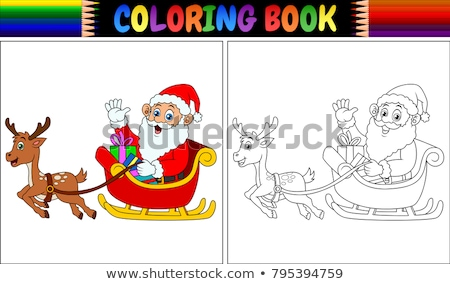 zwart · wit · gelukkig · kerstman · cartoon · mascotte · karakter - stockfoto © hittoon
