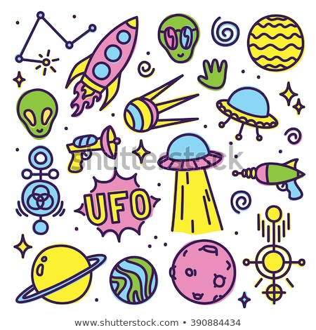 Set green alien and UFO, Moon. Vector illustration. Stock photo © popaukropa