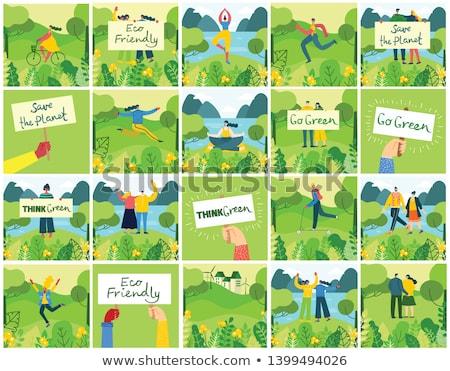 alternatief · milieuvriendelijk · tuin · stempel · twee - stockfoto © szsz