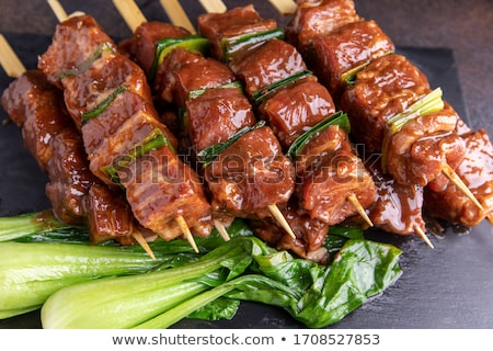 Stock photo: beef skewer marinated