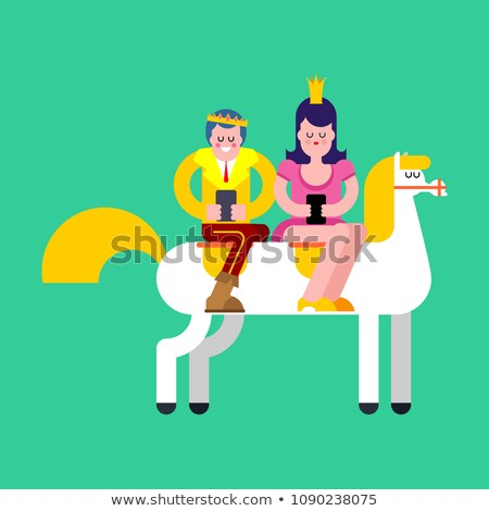 prince and princess on white horse and smartphone kings son on stock photo © maryvalery