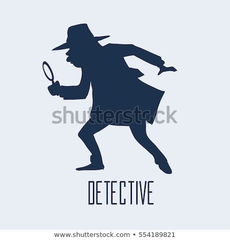 Private detective in raincoat and with magnifying glass. Vector  Stock photo © popaukropa