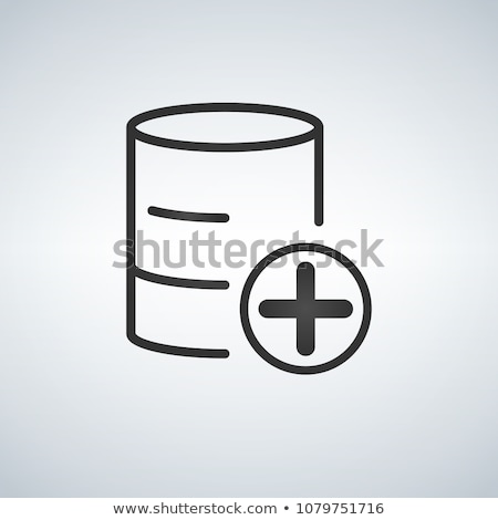 Add to database linear black icon. Vector illustration isolated on modern background. Stock photo © kyryloff