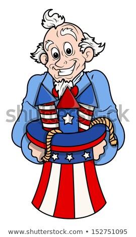 negyedike · nagybácsi · póz · mutat · áll · zászló - stock fotó © lenm