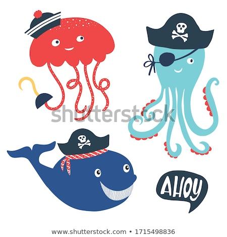 улыбаясь мало медуз Cartoon иллюстрация улыбка Сток-фото © cthoman