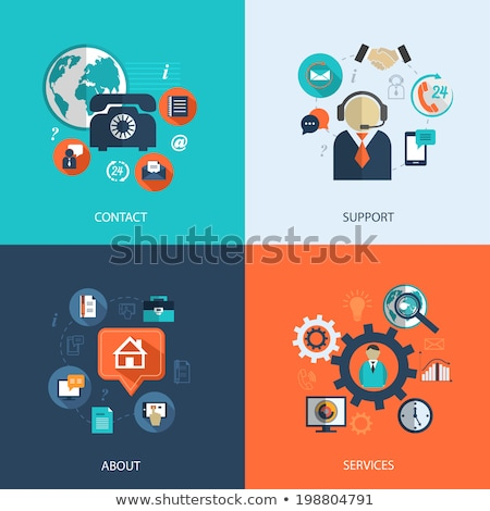 business customer care service concept icons set of contact us support help phone call and websi stock photo © makyzz