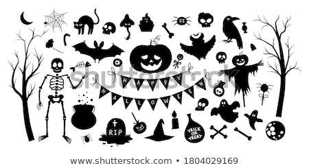 Witch, pumpkin lantern, tree, cat, cauldron and bat stencil  Stock photo © TasiPas